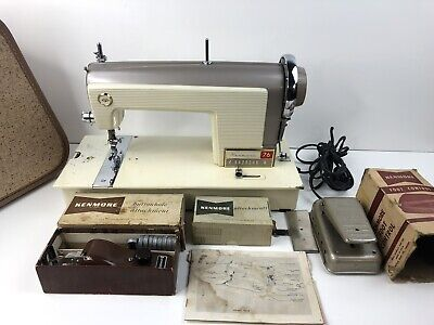 Kenmore Sears 120-76 Sewing Machine Vintage 70's Case Buttonhole Attachments