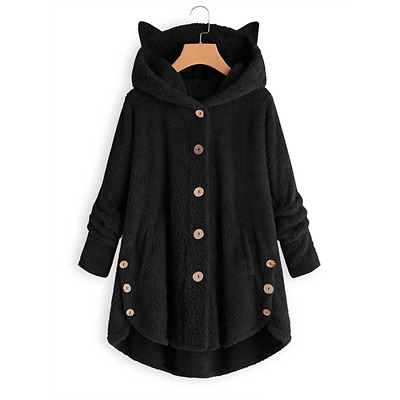 Womens Cat Ears Winter Warm Fleece Hoodie Coat Ladies Casual Long Hooded Jacket