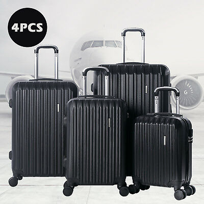 "16"" 20"" 24"" 28"" 4 Piece Luggage Travel Set Bag ABS Spinner Suitcase Lock Black"