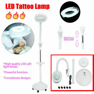 16X Magnifying LED Beauty Salon Floor Lamp Adjust Cold Light Tattoo Lamp+Wheels