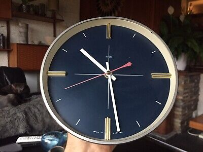 Vintage Metamec Space Age Wall Clock in Blue, White, Brass and Aluminium.