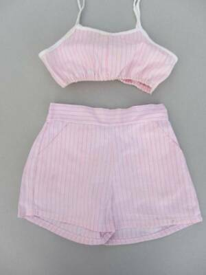 Vintage 50's bikini top and shorts toddler age 5 pink candy stripes cotton beach