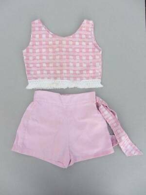 Vintage 50's top and shorts toddler age 5 pink cotton beach baby