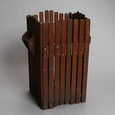 Vintage Mission Oak Arts & Crafts Style Slatted Sided Rustic Wastebasket