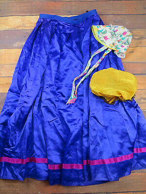 Victorian Style Purple Skirt With Floral Bonnet & Mop Cap UK 10 - Theatrical
