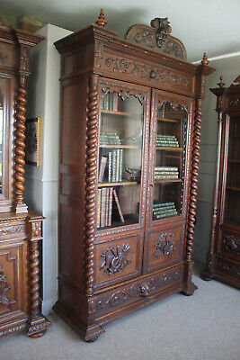 French antique solid oak library Henry II
