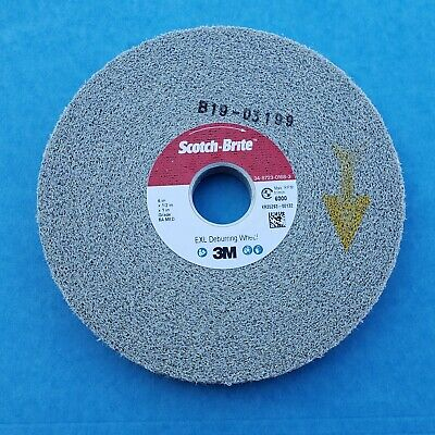 "3M SCOTCHBRITE EXL DEBURRING WHEEL 6"" Dia 1/2"" Wide 1"" Bore  8A-MEDIUM 13616"
