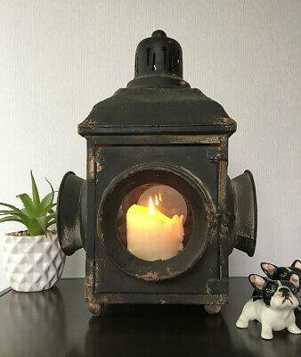Antique Vintage Style Railway Carriage Lantern Large Industrial Candle Steampunk