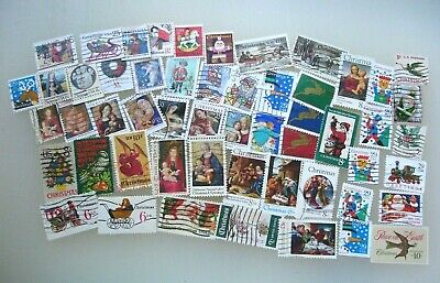 US Christmas Issues - Lot of 50+ Different Used US Postage Stamps
