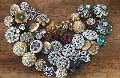 Huge Lot Of Antique/Vintage Metal & Rhinestones Buttons! Stunning ! Rare
