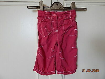 Next Baby Girls Dark Pink Cotton Trousers 3-6 Months With Adjustable Length