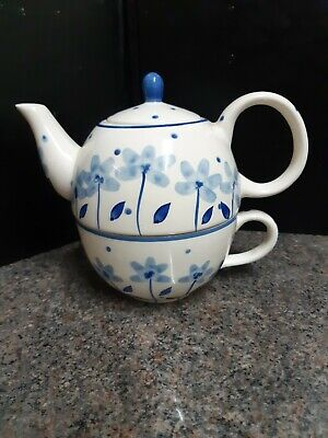 Whittard of Chelsea Tea for One Set - Blue Tea Clipper Teapot & Cup