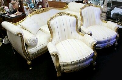 Three Piece Silk Upholstered Carved Giltwood Suite