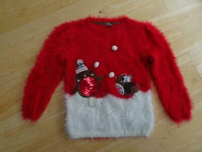 TU girls red soft fluffy knit robin christmas sweater jumper AGE 4 - 5 YEARS