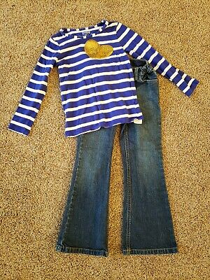 Girls outfit size 6, Oshkosh Shirt blue white striped Gold Sequin Heart, Jeans