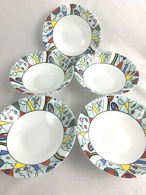 Lot 5 Arcopal Bowls White Las Vegas Pattern Soup Cereal Modern Abstract Colorful