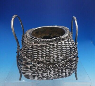 Chinese Export Silver Champagne Cooler Woven Basket w/ Insert (#4067)