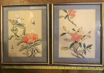 Pair Oriental Chinese Japanese Hand Painted Flowers Silk Framed Pictures Signed