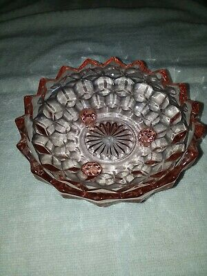Vintage Pink Blush Depression Glass 3 Footed Candy Nut Dish Bowl