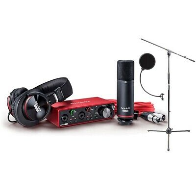 Focusrite Scarlett 2i2 USB Audio Interface Studio Pack w/ Mic Stand & Pop Filter