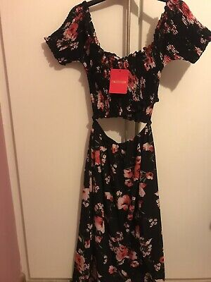 Pink Boutique Bardot Cut Out Dress Black Floral Brand New *with Tags* Size 12