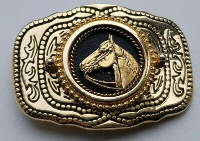 Vintage Belt Buckle, Cowboy/Cowgirl/Horse - Gold In Colour - RARE - USA