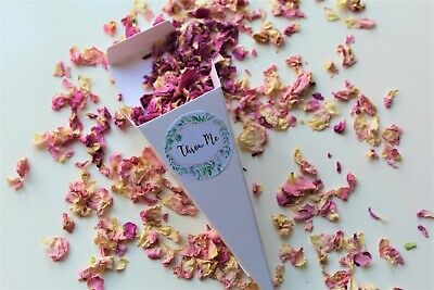 Biodegradable Confetti Cone & Pink Ivory Rose Petal Confetti & Throw Me Sticker