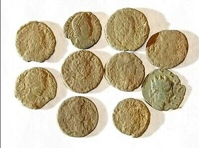 10 ANCIENT ROMAN COINS AE3 - Uncleaned and As Found! - Unique Lot 17031