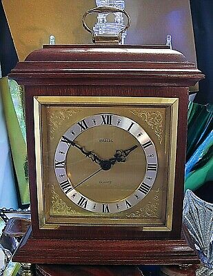 Angelus Wooden mantle clock 240 x 180 x 75 brass dial crystal glass  Germany
