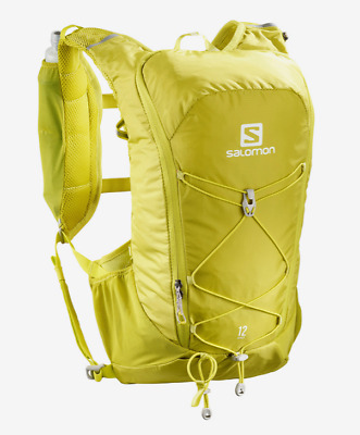 New Salomon Agile 12 Set Hydration Pack Bag Outdoor Hiking Water Packs Yellow