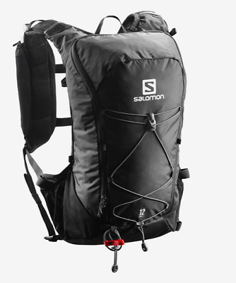 New Salomon Agile 12 Set Hydration Pack Bag Outdoor Hiking Water Packs Black