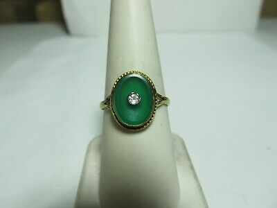Antique 14K Solid Gold Ring With Natural Green Onyx