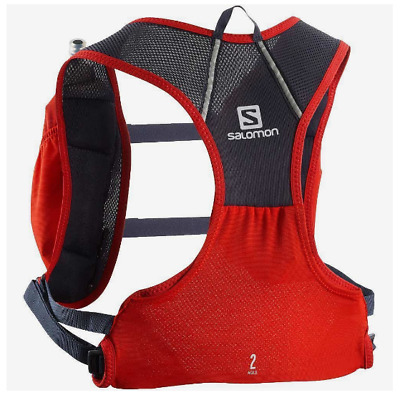 New Salomon Agile 2 Set Hydration Pack Trail Hike Kangaroo Back Pocket Vest Red