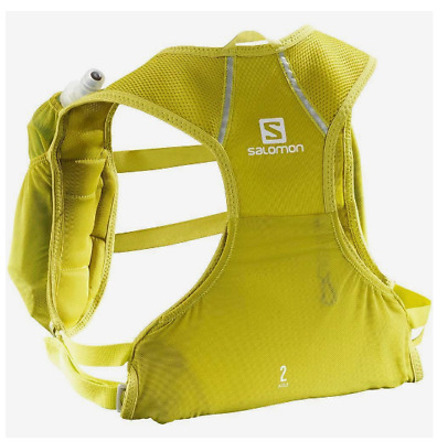 New Salomon Agile 2 Set Hydration Pack Hike Kangaroo Back Pocket Vest Yellow