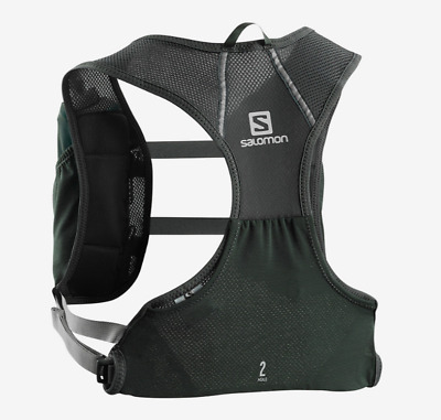 New Salomon Agile 2 Set Hydration Pack Hiking Kangaroo Back Pocket Vest Black