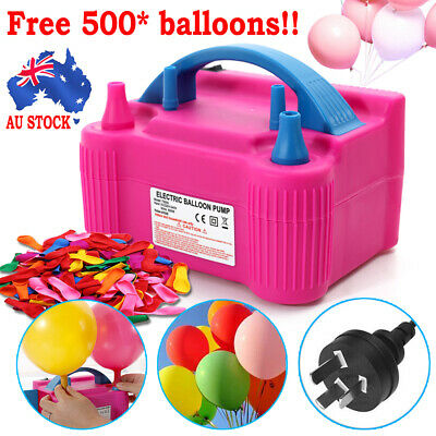 600W Air Balloon Pump 2Nozzle Electric Automatic Portable Inflator +500X Balloon