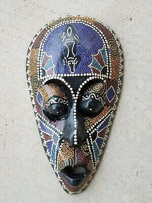 """Handpainted Carved Decorative Wooden Mask African Tribal Style Aboriginal 12"""""""