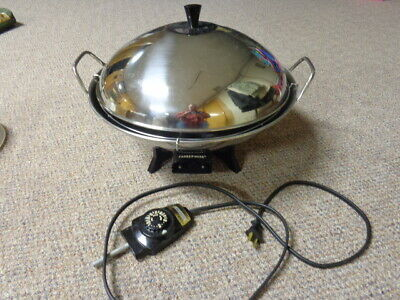 Vintage FarberWare Electric Wok Stainless Steel  #303 Heat Control