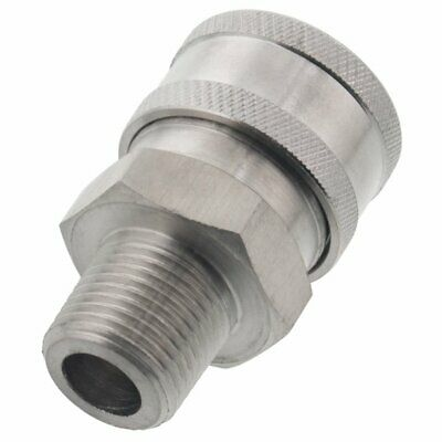 "Stainless Steel Pressure Washer 3/8"" NPT Male Quick Connect QC Socket Coupler"