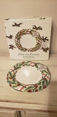 Beautiful Fitz and Floyd Plaid Cookie COOKIES FOR SANTA Christmas Plate
