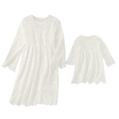 Parent-Child Girl Kids Mother Lace Ruffle Clothes Summer Princess Dress R1BO