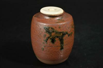 A1194: Japanese Tamba-ware TEA CADDY Chaire Container with High class lid