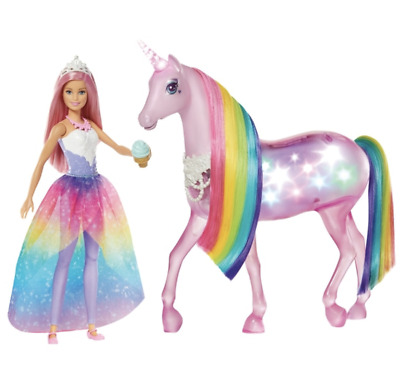 Barbie Dreamtopia Magical Lights Unicorn Girls Christmas Toy Playset Dolls Doll