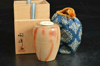 A1146: Japanese Bizen-ware TEA CADDY Container with High class lid w/signed box