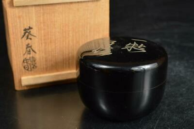 A1125: Japanese Wooden Lacquer ware Poetry pattern TEA CADDY Natsume Container