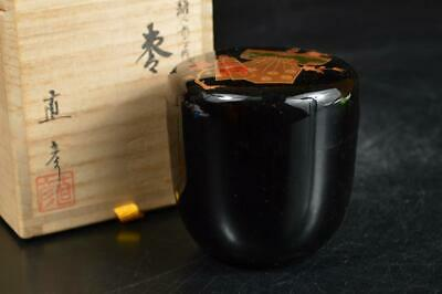 A1102: Japan Wooden Lacquer ware TEA CADDY Natsume Chaire Container w/signed box