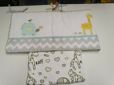 Baby cot bumper - giraffe jungle theme - jungle friends elli & raff
