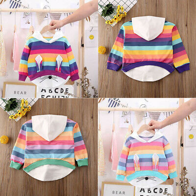 Infant Baby Girl Rainbow Striped Hoodie Tops Kids Cute Casual Outfits Xmas Gift