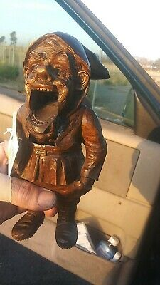 Antique Carved BLACK FOREST NUTCRACKER Wood Gnome Swiss