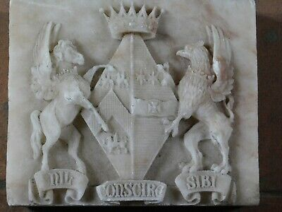 Antique Carved Stone Heraldic Coat Of Arm Carved Family Crest